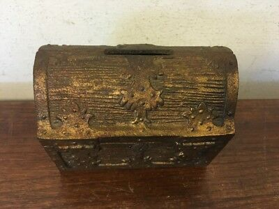 Vintage Cast Iron Treasure Chest Bank