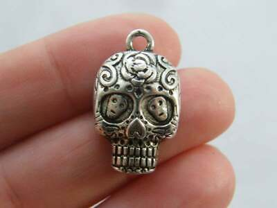 2 Ram skull charms antique silver tone A614