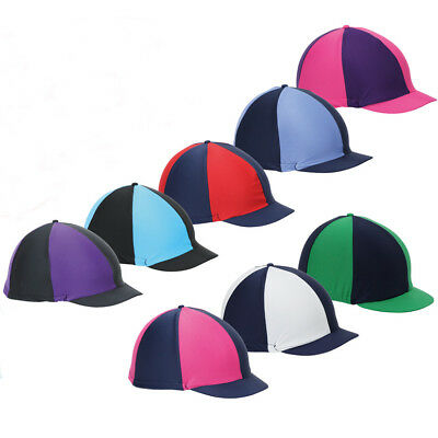 Shires Riding Hat Helmet Skull Cap Cover Quartered Mixed Multi Colours Stretchy