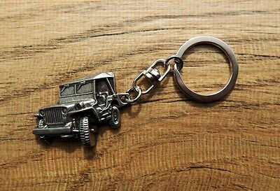 "JEEP WILLYS MB KEY RING FOB CHAIN ~1-1/2"" x 1-1/8"" ARMY TRUCK OVERLAND PIN PATCH"