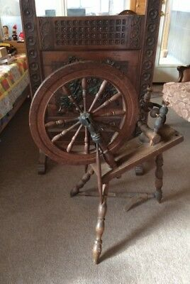 Antique Spinning Wheel marked JL 1814. Early 19th century.