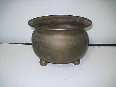 "Antique Russian Imperial Hammered Brass Planter 10&1/2"" dia Double Eagle Stamped"