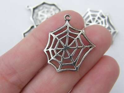 6 Cobweb or spiderweb charms tibetan silver HC132