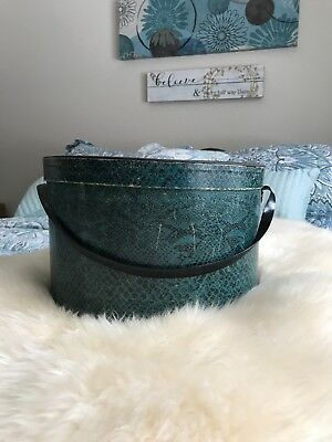 Vintage Hat Box Wallpaper Snakeskin with Vinyl Handle Photo inside of woman