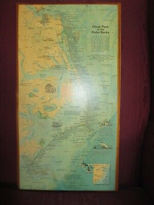 Vtg Ghost Fleet of the Outer Banks Mounted Map Eastern Seaboard Shipwrecks 1970