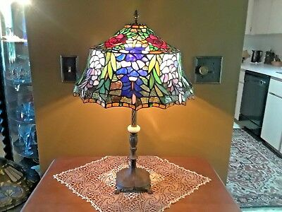 "Leaded Mosaic Stained Glass 26"" Antique Table Lamp Handel/ Miller /Tiffany Era"
