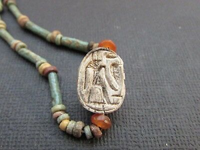 NILE  Ancient Egyptian Stone Scarab Amulet Mummy Bead Necklace ca 1200 BC