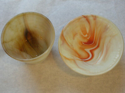 Two Vintage Akro Agate Slag Glass  Retro Pot