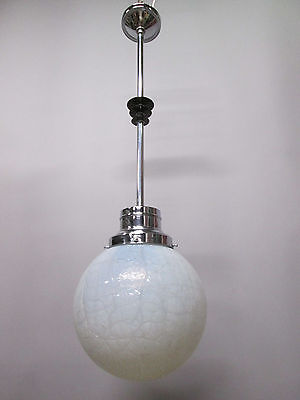 "Vintage Antique Art Deco Chrome Pendant Light Opal Crackle 12"" Shade 41"" Long A"