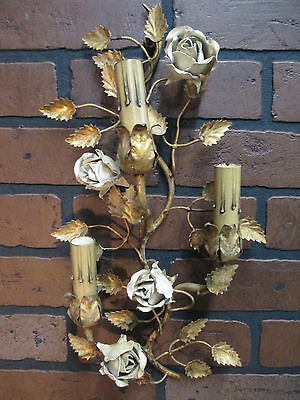 """Vintage Antique Italian Gold Gilt Wall Sconce Candle Sconce with Roses 15 1/2""""T"""