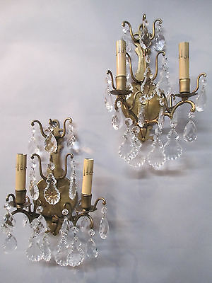 Vintage Antique Pair Cast Steel Antique Gold  2 Arm Crystal Prism Sconces