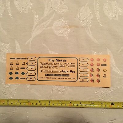 Slot Machine Parts - Unknown Pay Card.  Possibly for Mills of Jennings Machines.