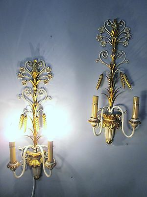 "Vintage Antique Pair Italian Tole Wheat Gold Gilt Wall Sconce Lights  22"" x 9"""