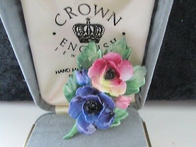 Vintage Signed Cej Jewellery Hand Made Fine Bone China Floral Brooch Pin