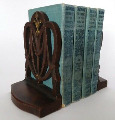 Vintage B&H Bradley Hubbard bookends cast iron wheat swag Victorian Chair 1920s