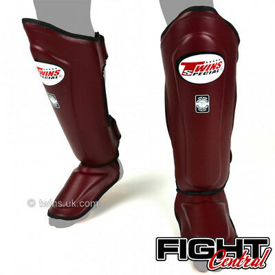 Twins Leather Shin Pads - Maroon - FREE P&P - Muay Thai, MMA, Martial Arts
