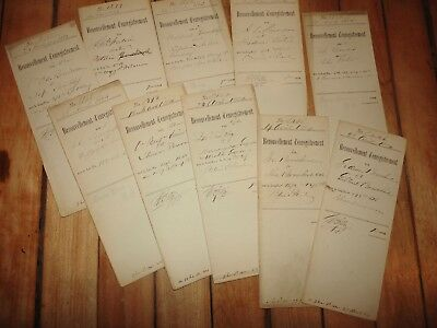 10 antique paper documents registration certificates french canadian late 1800's