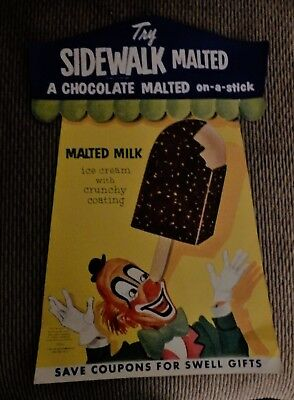 Old Store Stock 1957 Joe Lowe Sidewalk Malted Ice Cream on a Stick Sign