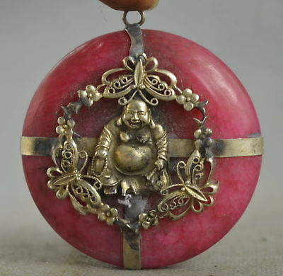 Collectable Handwork Decor Old Miao Silver Carve Buddha Inlay Jade Lucky Pendant