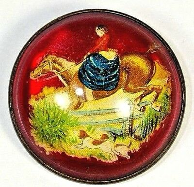 Vintage Glass Dome Horse Bridle Equestrian Pin Victorian Lady Jumping w Dogs