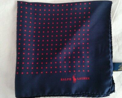 Polo Ralph Lauren Men's Polka Dot Pocket Square Made in Italy BLUE/RED NWT