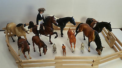 Breyer Horses Lot of 11 Traditional Prancing and Foal with Corral and Rider