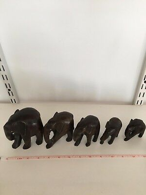 Vintage Hand Carved Wooden Elephants (5) Dark Wood Ghana West Africa