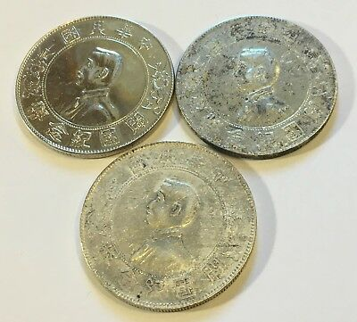 "3 China Republic Sun Yat-sen ""Memento"" Dollar ND (1927) Silver Coin  #3"