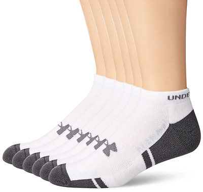 98152bd9dd6 5 PAIR UNDER Armour Resistor Men's No Show Socks, White, Size Large ...