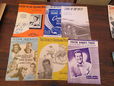 Sheet Music Vintage Lot of 35 Assorted Music Sheets from 20's, 30's, 40's & 50's