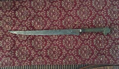 "Old Big Dagger Knife Fighting Vintage Large Long 14"" Sword Scribed Hand Forged"