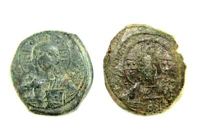 TWO BYZANTINE EMPIRE BRONZE COINS 10- 11 century AD.   1v335