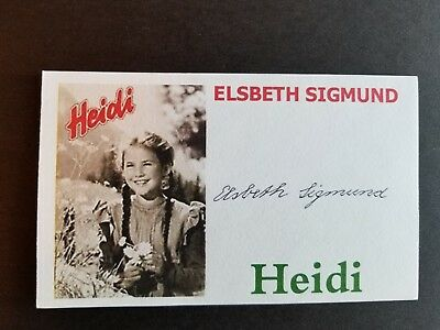 """HEIDI"" ELSBETH SIGMUND Autographed 3x5 Index Card"