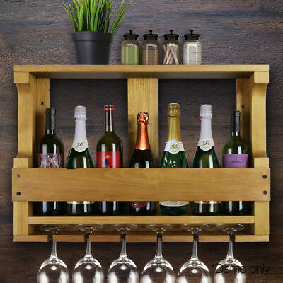 7 Bottle Wine Glass Rack Wall Mounted Bottles Wooden Storage Display Organise