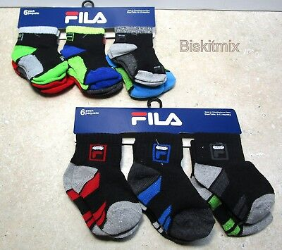 12 Pairs of FILA Boys Multicolor/ Black Socks. For, Baby, Toddler 6-12 Months