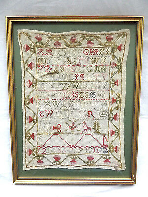 Beautiful Antique 19Th Century Framed Needlework Alphabet Sampler.