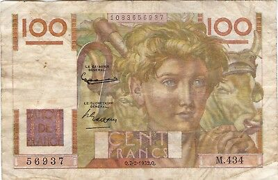 1952 France, French Currency, Paper Money, Bank Note 100 Francs