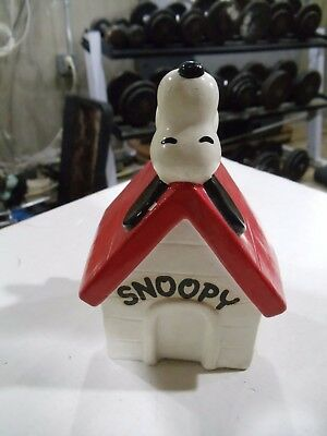 "Vintage Peanuts Snoopy Paper Mache Snoopy On Dog House Bank Small 6"" Tall"