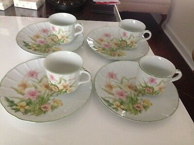 "Shafford ""Jade Lily"" Fine Porcelain Snack Plates And Tea Cups, Set Of Four, Mint"