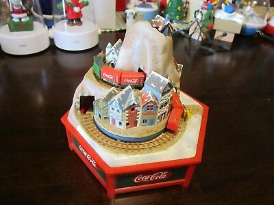 Enesco Coca-Cola Music Box Two Freight Trains Multi Action/ Lighted