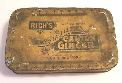 Antique Rich's Crystallized Canton Ginger Tin - Manufactured in New York