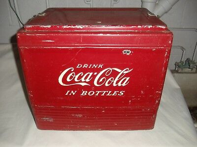 Vintage 1950's Coca Cola Red Side Handle Beach Coke Cooler Progress Refrigerator