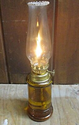 Mini Oil Lamp Collectible Antique amber glass 9.5 inch working hurricane light