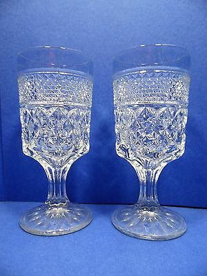 Anchor Hocking Wexford Water Goblets Stemware 8 Oz Set of 2 Clear Glassware USA