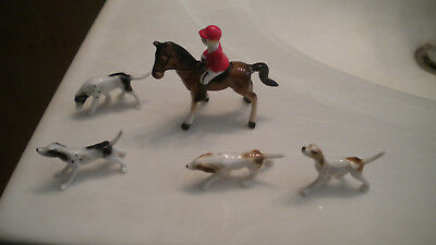 Vintage Miniature HORSE FOX RUN ( Horse, Rider & 4 Pointer Dogs ) BONE CHINA