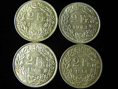 Swiss .835 Silver Francs '44, '59, '63, & '63 (4) coins, 33.4 grams of silver
