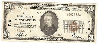 $20.00 1929 NATIONAL BANK NOTE Minneapolis , MN. Charter#  710  Type-1