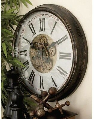 24 in. Gear Wall Clock Vintage Adventure Warrior Battery Operated Round Classic