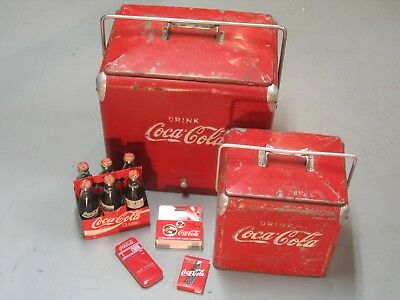 LOT Vintage Coca Cola Cooler Chest Large Small Bottle Opener +Cards Watch 6 pack