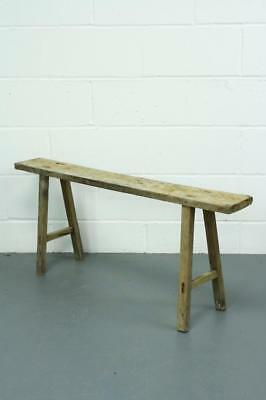 Old Rustic Antique Vintage Wooden Pig Bench Long